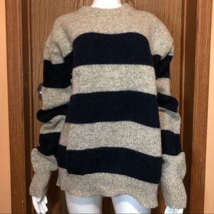 VTG Oatmeal & Navy Blue Stripe Wool Blend Sweater